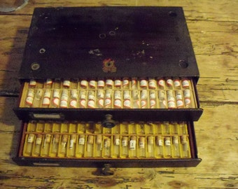 Vintage Watchmaker Cabinet with Lots of Vials