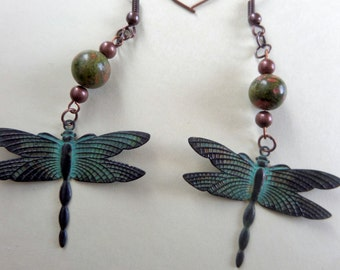 Patinaed Dragonfly Earrings with Unakite Beads
