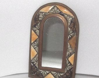 SALE Vintage Handmade Mirror, Decorated, Embossed, Brass, Bone