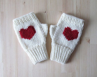 Knit Fingerless Gloves in Ivory, Dark Red Embroidered Heart, Heart Knit Gloves, Fingerless Mittens, Arm Warmers, Wool Blend, Made to Order