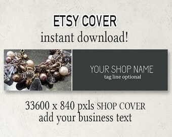 Etsy Cover, DIY Etsy Cover, Instant Download, Add Your Text, Jewelry Shop Cover, Shop Cover, 3360 x 840, Download Cover, Cover Design