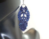 Peace Signs and Knots Micro Macrame Earrings