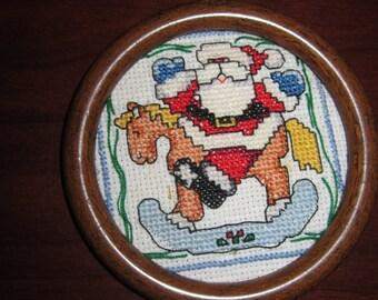 Santa on Rocking Horse Christmas Tree Ornament