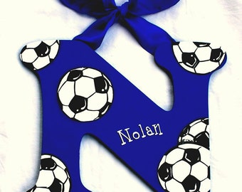 Soccer Nursery Letters, Soccer Painted Letters, Soccer Birthday Decoration, Soccer Nursery Decor, Soccer Baby Photo Prop