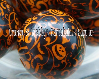 20mm Resin Black Pumpkin Damask Print  -  Chunky Necklaces - Set of 10 - Halloween Print Pumpkin, Jack O Lantern