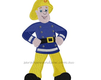 Fireman Sam Inspired Machine Embroidery Design (Applique & Filled)