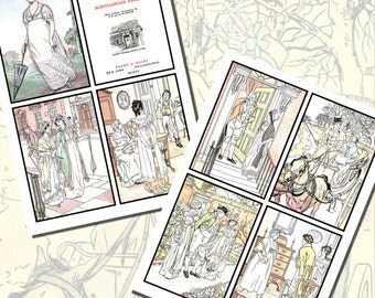 Jane Austen's Northanger Abbey Printables by C.E. Brock, POSTCARD SIZE,  (3.5 x 5 Inch  or 12.7 x 8.8 cm), 8 Total