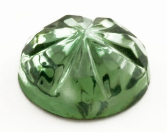 144 Olivine Green Rhinestones, 8mm Round Foiled Flat Back Faceted Glass Jewel, High Quality 1950's Germany NOS, Big Lot Wholesale Glass Gems