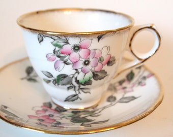 Vintage English China Teacup Royal Stafford Fine Bone China Tea cup and Saucer Set - Pink and Grey Floral Flowers with Gold - England