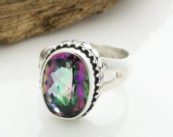 Rainbow Mystic Topaz Silver Ring, Mystic Engagement ring, topaz ring , Light Pink Rainbow Mystic Topaz Silver Rings, mystic topaz ring
