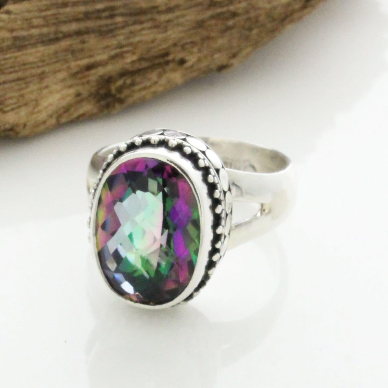 Rainbow Mystic Topaz Silver Ring Mystic Engagement Ring