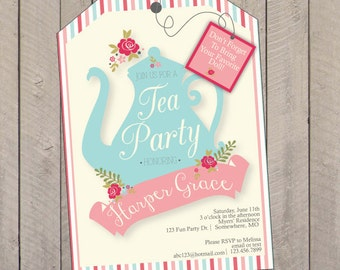 Tea Party Birthday Party Invitation, Tea Party Invitation, Doll Tea Party Invitation, American Girl Doll PDF File or Printed Invitations
