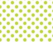 Polka Dot Fabric, Lime Green on White, Medium Polka Dots, Riley Blake, Cotton Sewing Material, Fat Quarter, Half Yard, 1 Yard, By The Yard