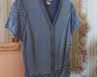 Crocheted-Like Silver/Blue Sweater ~ Beautiful, Silky Looking ~ Medium - Small Size
