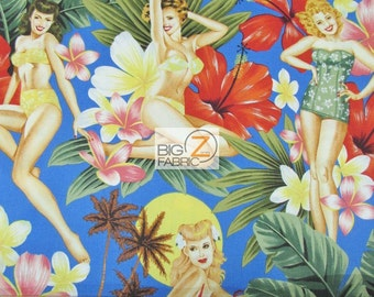 """100% Cotton Fabric By Alexander Henry - Island Girls 60's Bikinis - Sold By The Yard  - 45"""" Width (FH-2299)"""
