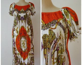 Sale Maxi Dress / Vintage Dress / 1960's Dress / Paisley Maxi Dress / Mod Maxi Dress S/M