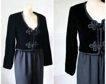 1950s Black Velvet Bolero Jacket /  Vintage Frog Closure Bolero Coat /  Vtg 50s Little Black Jacket /  Vintage Saks 5th Ave Fashion  S