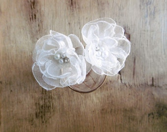 Light Ivory Flower Hair Pins Wedding Accessories Bride Bridesmaid Flower Girl Hair