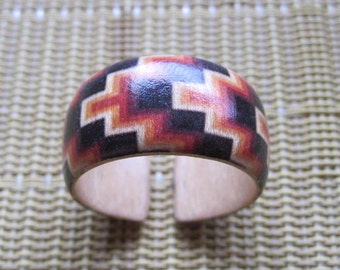 Textile Design (Native American) -- adjustable wood ring