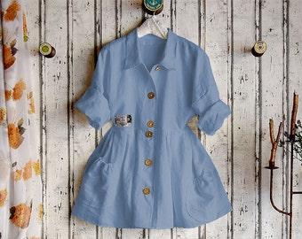 Plus sizes- US 18 - 34, UK 20 - 36 , Linen dress/blouse, European Layering Look ,blue