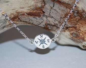 Linked compass necklace, sterling silver compass necklace, gift