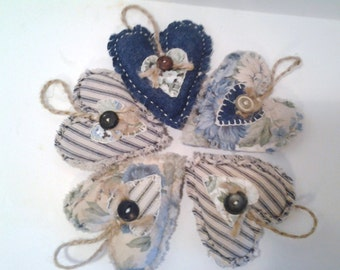 Fabric Hearts, Handmade,  Country Decor,  Scented or Unscented, Ticking Fabric, Cottage Chic, Home and Living, Home Decor, party decor, blue