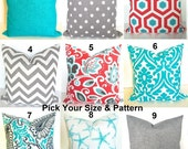 BEACH OUTDOOR PILLOWS Coral Throw Pillows Turquoise Throw Pillow Covers Blue Pillows Aqua Gray Outdoor pillow Covers Teal 16 18 20x20