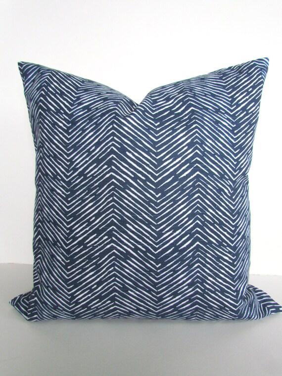 Dark Blue Decorative Pillows : Items similar to BLUE PILLOWS Blue Throw Pillows Dark Blue Herringbone Pillow Covers Blue ...
