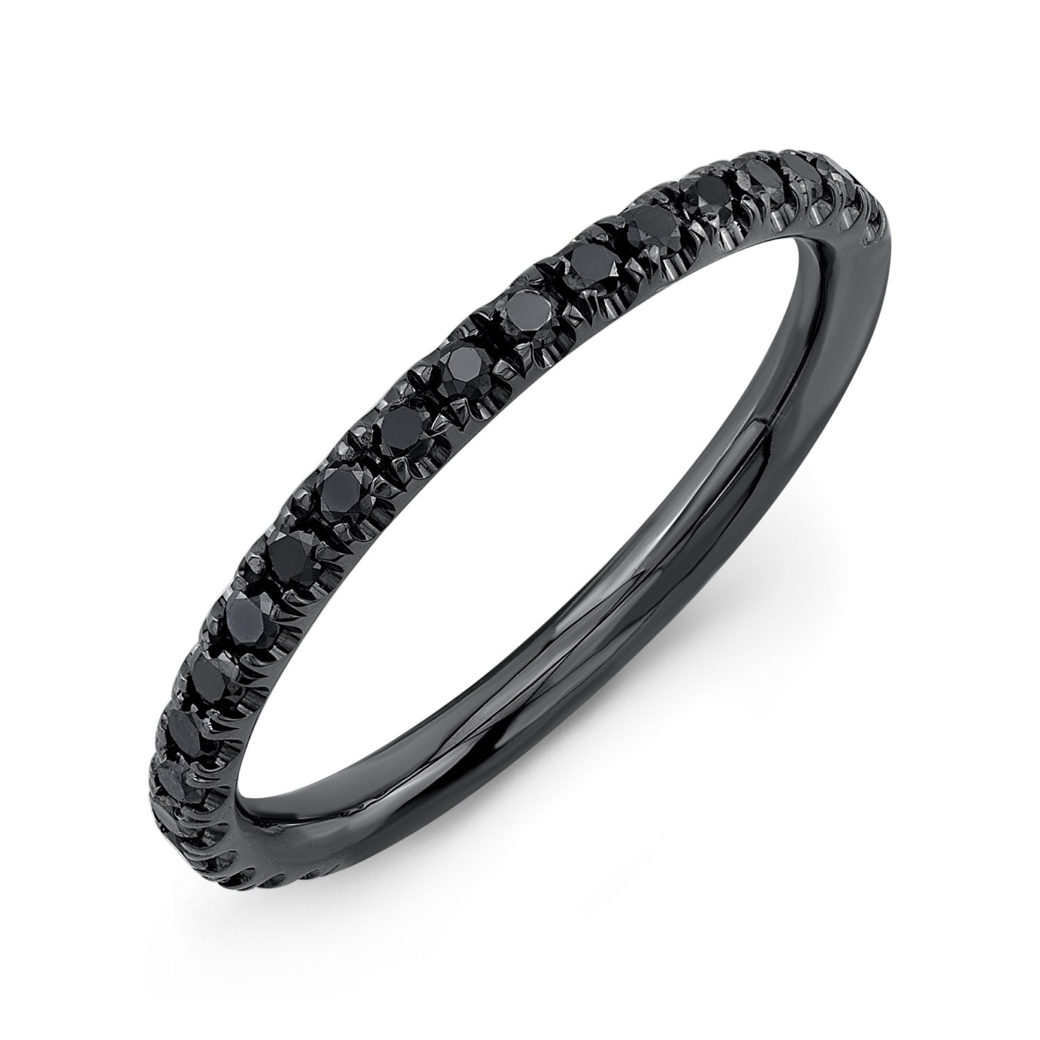 Black diamond thin wedding band 0 25 ctw