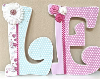 Custom Nursery Letters, Baby Girl Nursery Letters, Girl Nursery Decor, Baby Shower Gift, Hanging Wall Letters, pink & teal- The Rugged Pearl