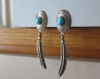 Turquoise feather sterling silver 925 clip on earrings vintage southwestern