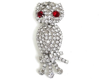 Vintage Rhinestone Owl Pin Brooch Ruby Red Eyes Silver Metal Figural Jewelry Gift Owl Bird Lover