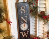 Love Snow Snowman Sign Primitive Hand painted Vintage Look