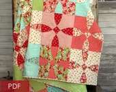 Cotton Fields quilt pattern - PDF quilt pattern - digital download - traditional patchwork quilt  curved pieced block, vintage feeling quilt