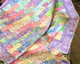 Handmade Batik Lap Quilt-Modern Pastel Quilt-Handmade Quillt- Batik-Quilt- Lap Quilt-Sofa Quilt-Quilted Throw-Handmade Reversible Quilt