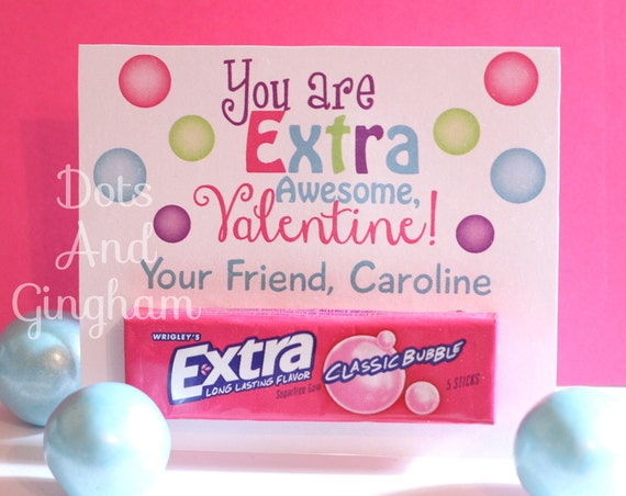 This is an image of Declarative Extra Gum Valentine Printable