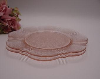 "Antique 1930s MacBeth Evans Sweetheart Pink 8"" Salad Plate - Vintage Glassware - Sweetheart Pattern Luncheon Plate - Vintage Glassware"