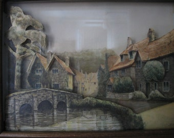 1920s Framed 3-D Lithograph of English Village Scene