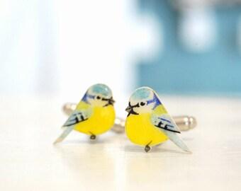 Bluetit cuff links. Bird Cufflinks. Hand drawn cuff links. Mens accessories