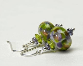 Purple and Green Lampwork Earrings - Lampwork Glass Earrings with Sterling Silver Earwires - Handmade Jewelry
