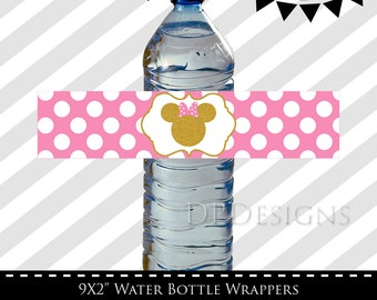 Minnie Mouse Water Bottle Labels - Pink and Gold, Glitter, Birthday Party, INSTANT DOWNLOAD