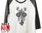 Zebra Glasses shirt Animal shirt baseball shirt 3/4 sleeve shirts women t shirt men t shirt teen girly size S M L