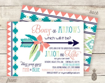 Bows or Arrows? Baby Gender Reveal Invitations - Colors Used: Coral, Turquoise, Aqua, Navy, and Mint-Lime