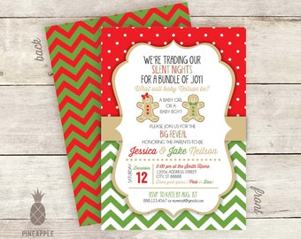 Gingerbread Christmas-Themed Baby Gender Reveal Invitations