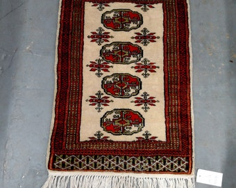1970s Vintage, Hand-Knotted, Retro Bokara Rug (2798)