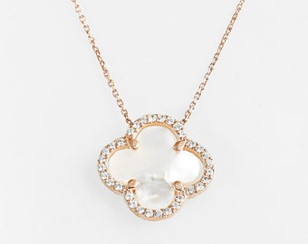 gold clover necklace,,mother of pearl clover necklace,silver clover necklace,luck flower,four leaf flower necklace