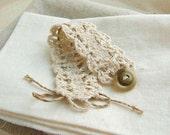 Knitting lace wrist cuff bracelet, Eсru color, raw silk and linen