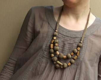 """Silk fabric soft statement necklace """"Nature"""" with wood branch beads, soft textile beaded jewelry, boho style, beige olive khaki"""