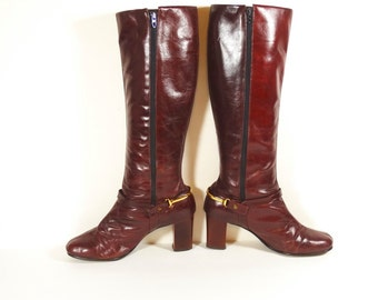 70s Burgundy Leather Boots with Gold Spur Detail - Mid-Calf Boots - 1970s Boots - 7.5 N