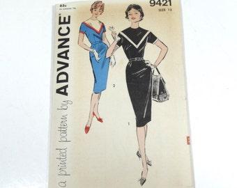 50s Sheath Dress Pattern - Advance 9421 - Size 12 1950s Pattern - 50s Dress Pattern